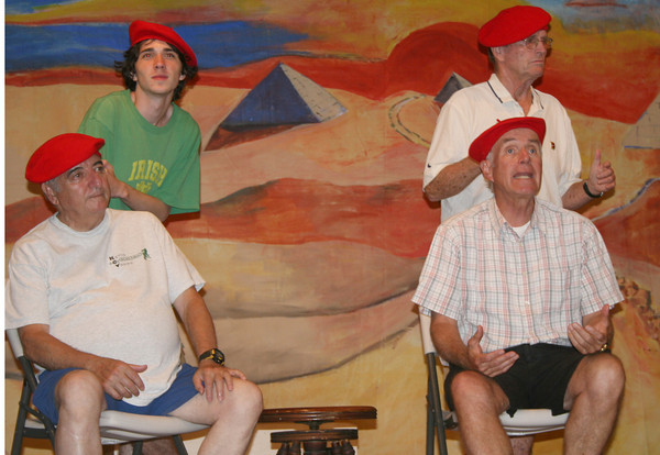 "Gloucester: Tony Verga, left, Aedan McCarthy, Nat Gorton, front, Dean Harrison rehealsaling their play ""Joseph and the Amazing Technicolor Dreamcoat"" for August 4th in Annisquam Village Hall.<br /> Silvie Lockerova/Gloucester Daily Times"