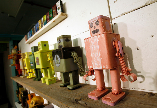 Rockport: Tom Torrey's robots will be featured in the Hive gallery opening in Rockport on Friday from 7-10. The gallery is located next to ACE Hardware. Photo by Kate Glass/Gloucester Daily Times Tuesday, July 7, 2009