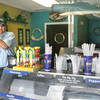 Gloucester: Ed Williams at his store, Popos, on Rogers street. Popos opened this summer on July 1st in Gloucester and also has nine other locations. Popos was nominated as the best Olde Fashioned Gourmet Hotdog in Massachusetts by AOL Cities Best. <br /> Silvie Lockerova/Gloucester Daily Times