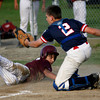 Gloucester: Gloucester's Mark Horgan looks back to see the call as he slides into home plate, but Swampscott's Chris Carmen got the tag during their Junior League All-Star game at Nate Ross Field yesterday. Photo by Kate Glass/Gloucester Daily Times Monday, July 13, 2009