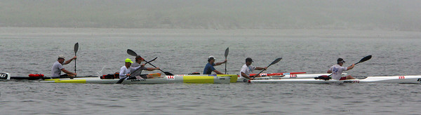 Gloucester: Kayakers head down the Annisquam River past the Annisquam Yacht Club duirng the Balckburn Challenge Saturday morning.  The rowing race is a 20-plus mile circumnavigation around points of Cape Ann that begins at the railroad bridge off the Cape Ann Marina and finishes at Pavilion Beach. Photo by Mary Muckenhoupt/Gloucester Daily Times