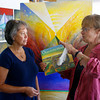 Gloucester: Anna Vojtech (on the right), a painter, an illustrator, who taught at Montserrat Art School, discusses art with one of her students, Pippy Giuliano, on Wensday morning in Botanic Illustration Class in Cripple Cove Studio. Anna is also teaching Book Illustration Class, applying the European traditional painting.<br /> Silvie Lockerova/Gloucester Daily Times