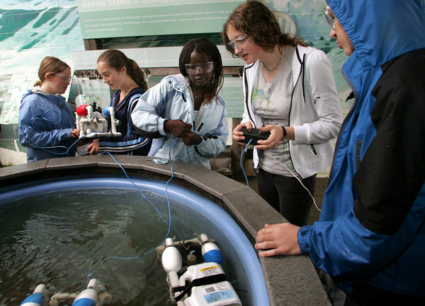Gloucester: From left, Morey Ronan, Hannah St. Cyr, Carren Jepchumba, Kelly O'Dea and Matthew Ciaramitaro work on their underwater robots in a pool at the Maritime Heritage Center while participating in a summer science program sponsored by the Gloucester Education Foundation Friday morning. The O'Maley Middel School students have been building the underwater robots for the past few weeks and were testing them out Friday.  Mary Muckenhoupt/Gloucester Daily Times