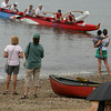Gloucester: An Outrigger canoe arrives on Pavillion Beach a little after 11 a.m. after completeing the Balckburn Challenge Saturday morning.   The rowing race is a 20-plus mile circumnavigation around points of Cape Ann that begins at the railroad bridge off the Cape Ann Marina around 8 a.m. and finishes at Pavilion Beach. Pictured in the canoe is, from right, Michael Fairchild, Chuck Baxter, Rob McLain, Paul Dyka, Jim Dipelesi and Blake Conant. Photo by Mary Muckenhoupt/Gloucester Daily Times