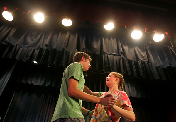 "Manchester: Nick Bouwer playing Henry Higgins and Piper Browne playing Eliza Doolittle rehearse a scene of ""My Fair Lady"" at Manchester Elementary School Thursday evening.  Mary Muckenhoupt/Gloucester Daily Times"