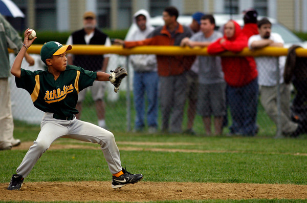 Gloucester: Tyler Monseuveng pitches during the Gloucester Little League Majors B World Series game between the Athletics and Braves. The Braves won 2-1. Photo by Kate Glass/Gloucester Daily Times Thursday, Julyl 23, 2009