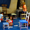 Rockport: Palumbo Anabelle and other children paint furniture during their art class with Pam Jones (not shown) at the Rockport Art Association Tuesday morning. The RAA offers a variety of one-week classes throughout the summer.<br /> Silvie Lockerova/Gloucester Daily Times