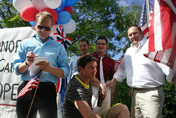 Manhester: From left,Alex Westerhoff, Tom Lang, Greg Kimball, Brian O'Connor and Will Heffernan, front middle, hang out on their parade float before the Manchester 4th of July Parade Saturday morning. Silvie Lockerova/Gloucester Daily Times