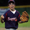 Gloucester: Braves pitcher BJ Mohan screams after striking out the last Athletics batter during their 2-1 win in the Gloucester Little League Majors B World Series game last night. Photo by Kate Glass/Gloucester Daily Times Thursday, Julyl 23, 2009