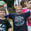 Rockport: From left, Luke Simpson, Sean Sweeney and Chloe Arnaud walk to their next activity which happend to be ceramics at Art Harbor summer camp at Windhover Performing Arts Center Thursday afternoon. Mary Muckenhoupt/Gloucester Daily Times