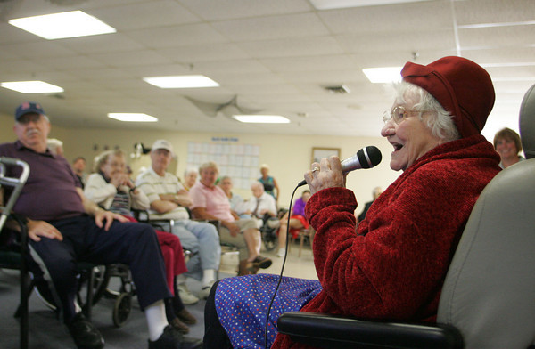 "Gloucester: Lillian Cloyd performs ""Second Hand Rose"" which recieved a lot of laughs at the Day by Day adult day care Senior Idol contest Wednesday afternoon. Mary Muckenhoupt/Gloucester Daily Times"