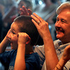 Rockport: Henry Ranta-Williams, 5, and his grandmother, Susan Ranta, mimic the motions of comic mime Robert Rivest during a program at the Rockport Library yesterday afternoon. Photo by Kate Glass/Gloucester Daily Times Wednesday, July 22, 2009