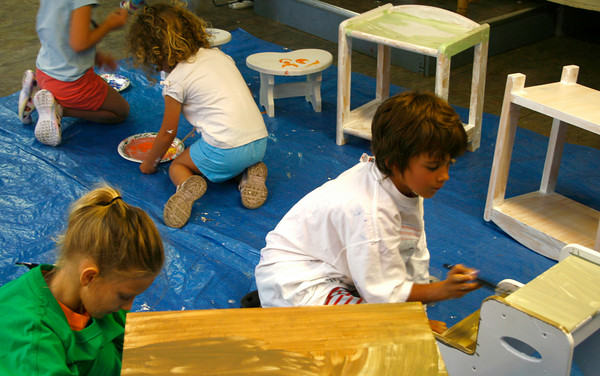 Rockport: Annie Hendrickson and Charlie Kubik paint furniture during their class at Rockport Art Association on Tuesday morning. The RAA offers a variety of one-week classes throughout the summer.<br /> Silvie Lockerova/Gloucester Daily Times