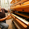 Greg Bover of C.B. Fisk Organbuilders displays some of the elements in organ construction. The company recently built a 2 million dollar organ for Indiana University's School of Music. Photo by Kate Glass/Gloucester Daily Times Monday, July 27, 2009