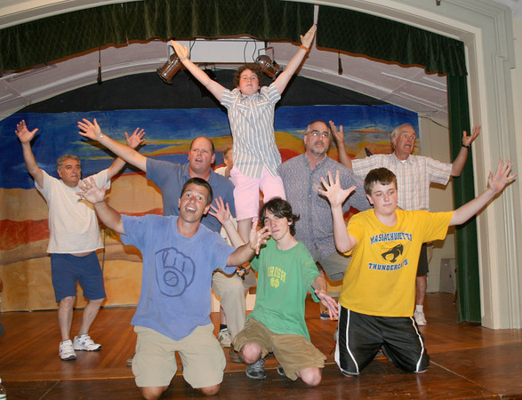 "Gloucester: Tony Verga, left, Mike English, Asher Weiss, top, Rick Kasten, Nat Gorton, Keith McCarthy, front, Aedan McCarthy, Sam Oriscoll rehearsaling for August 4th ""Joseph and the Amazing Technicolor Dreamcoat"" at the Annisquam Village Hall.<br /> Silvie Lockerova/Gloucester Daily Times"