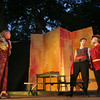 Heidi Pulkonen's character Kate looks on with disbelief as Tom Rash and Martin Ray as Petrucio and Baptista appear to be getting along. The Shakespearean play, which opens July 31st, is being performed by Theatre in the Pines at Windhover Performing Arts Center. Photo by Maria Uminski/ Gloucester Daily Times