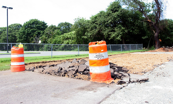Rockport: The town of Rockport is in the process of installing an outdoor basketball court at the high school. Photo by Maria Uminski/ Gloucester Daily Times