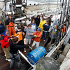 Members of the Gloucester Tall Ship Camp perform their jellyfish song as they dock behind the Maritime Heritage Center after spending five days aboard the Spirit of Massachusetts. Photo by Kate Glass/Gloucester Daily Times Thursday, July 2, 2009