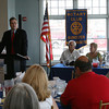 Gloucester: Josh Arnold addresses members and guests of the Rotary Club following his installation as Rotary Club President at Cruiseport on Tuesday. Photo by Kate Glass/Gloucester Daily Times