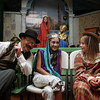 "Gloucester: From left, Michael McAteer, Sachi Kojima, 11, and Denby Fortune, 9, chit chat before they have to go to their appointed sections for the annual Wax Works show at the Annisquam Village Hall Saturday morning.  For more than 50 years the historic Wax Works show has been a sold out performance as actors pretend to be wax figures with a different theme each year.  This years theme was ""All About Time."" Mary Muckenhoupt/Gloucester Daily Times"