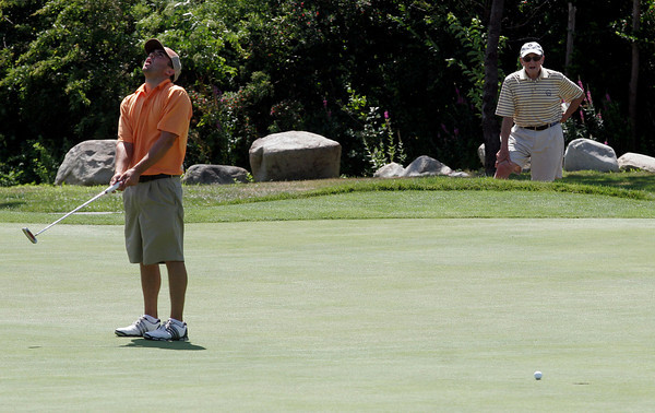 Gloucester: Josh Salah reacts after narrowly missing a putt during the Bass Rocks Golf Club Championship yesterday. Photo by Kate Glass/Gloucester Daily Times