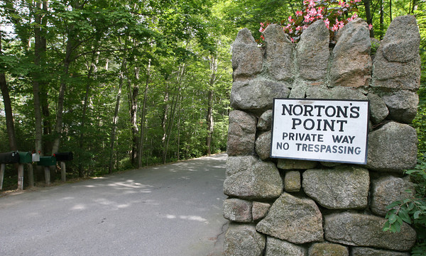 Manchester: The Manchester Department of Public Works is unable to repair a deteriorating main along Norton's Point because it runs beneath private property. Photo by Kate Glass/Gloucester Daily Times