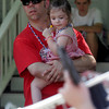 Manchester: Scott Trepanier holds his daughter, Madeleine, 2, during the Manchester 4th of July Parade yesterday afternoon. Photo by Kate Glass/Gloucester Daily Times