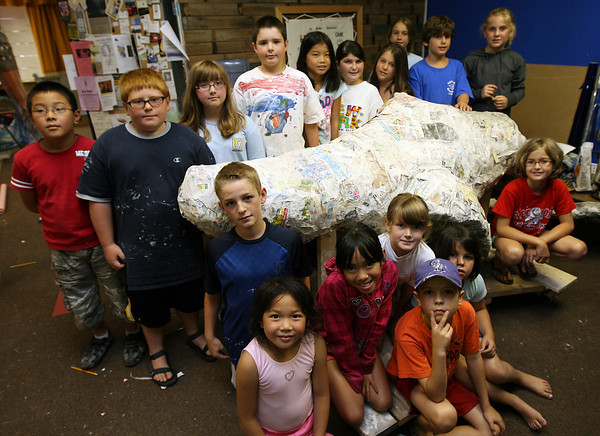 Gloucester: Students at Cape Ann Art Haven's Young Artist's Workshop created a giant whale out of paper mache to be on display as part of the Whale Fest, which is happening this weekend. Photo by Kate Glass/Gloucester Daily Times