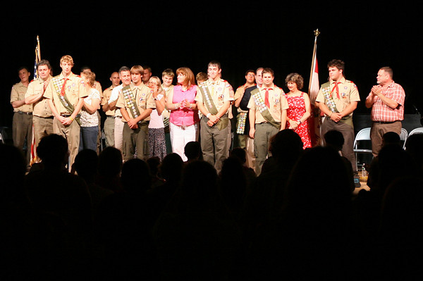 Rockport: Eagle Scouts Kyle Favaloro, Alexander Aparo, Daniel Carter, Craig Cardani, and Samuel Smith get a standing ovation from the crowd during their Eagle Scout Court of Honor at Rockport High School. Photo by Kate Glass/Gloucester Daily Times