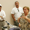 "Gloucester: Fishing advocate Angela Sanfilippo addresses Senator Scott Brown at The Fish Auction Friday afternoon.  Brown made his first fact finding trip to the Gloucester fishing industry and pledged to organze ""serious"" hearings into law enforcement excesses. Mary Muckenhoupt/Gloucester Daily Times"