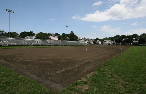 Gloucester: A portion of the field at Newell Stadium will be getting new sod so the surface is playable in the fall. Photo by Kate Glass/Gloucester Daily Times