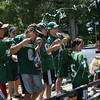 Manchester: Members of the Junior Hornets are ambushed with silly string as they ride in the Manchester 4th of July Parade yesterday afternoon. Photo by Kate Glass/Gloucester Daily Times