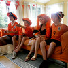 Rockport: The Roell family, from left, Shaffy, 17, left, Gideon, 11, mom Skaskia and Sam, 14, watch the Germany vs. Spain world cup soccer game in their Rockport home Wednesday afternoon. The Roells, who are from the Netherlands, were waiting to see who would win this game because the winner plays the Netherlands on Sunday. Mary Muckenhoupt/Gloucester Daily Times