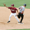 Lowell: Gloucester's Lenny Taormina gets Oxford's Mike Dalio out at first during the State Senior Little League Finals at LaLacheur Park in Lowell Saturday afternoon. In the best two out of three tournamnet Gloucester lost both games to Oxford. Mary Muckenhoupt/Gloucester Daily Times