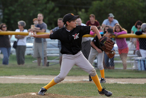 Hadden Roller pitches for the Pirates during the second world series game against the Red Sox on Wednesday Night. Pirates won 6-3. Photo by Maria Uminski/Gloucester Daily Times