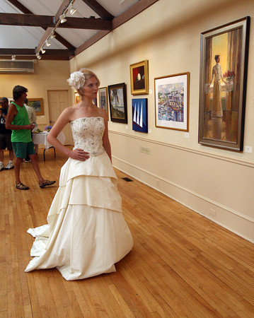 Rockport: Monica Wemyss of Rockport wears a dress designed by Gwendolyn Gleason during the Summer Whites Fashion Show at teh Rockport Art Association as part of Barefoot at Rockport, a day long celebration of fashion as art, yesterday. Photo by Kate Glass/Gloucester Daily Times