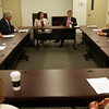 Massachusetts State Treasurer Steve Grossman, sitting to the right of Rep. Ann-Margaret Ferrante, meets with local bankers at BankGloucester to discuss loans for small businesses. Photo by Kate Glass/Gloucester Daily Times