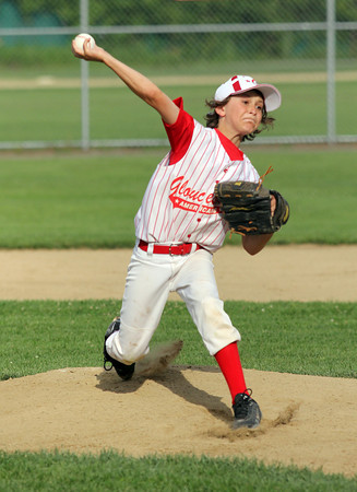 Gloucester American's Matthew Heckman starts on the mound during their game against Groveland as part of the Little League All-Stars tournament in Ipswich last night. Photo by Kate Glass/Gloucester Daily Times