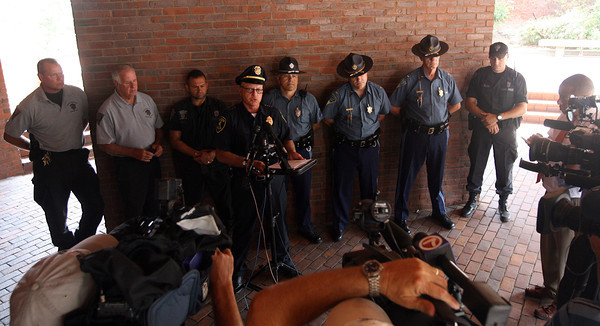 "Gloucester Police Chief Michael Lane addresses members of the media outside the Police Station after the body of Sergei ""Jay"" Samoylenko of Bedford was found at Haskell Pond Tuesday afternoon. State Police assisted in the search after he was reported missing Monday night. Photo by Kate Glass/Gloucester Daily Times"