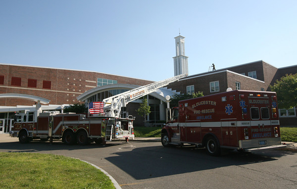 Gloucester Firefighters investigate a fire that started on the third floor of Gloucester High School yesterday evening. Photo by Kate Glass/Gloucester Daily Times