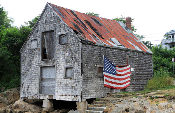 David Le/Gloucester Daily Times. The Gloucester City Council is working to save and restore Morey's Shack, one of the last fish shacks in Lane's Cove, and a landmark in Lanesville. 7/13/11.