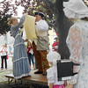 Gail McCarthy/Staff photographer. Gloucester Daily Times. Rockport: Chuck Francis, the town crier, reads the historic document that led to the celebration of July 4 as the nation's Independence Day.