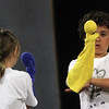 "Allegra Boverman/Staff photographer. Gloucester Daily Times. Gloucester: Roxie Myhrum, artistic director of the Puppet Showplace Theatre of Brookline, gave a puppeteering workshop at the Gloucester Stage Company's Youth Acting Workshops on Friday. She also coached the actors in the GSC's current production of ""Carnival."" Brody Baskin, 8, right, works with his puppet."