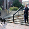 ALLEGRA BOVERMAN/Staff photo. Gloucester Daily Times. Gloucester: Trident, right, is the latest addition to the Gloucester Police Department; his partner is Officer Jerry Ciolino. At left are Officer Chris Genovese and Mako.