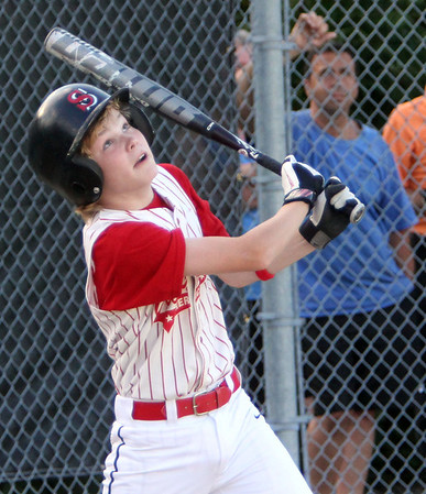 ALLEGRA BOVERMAN/Staff photo. Gloucester Daily Times. Ipswich: The Gloucester Americans team won their game against Danvers National 6-4 in the District 15 Williamsport Pool Play on Monday afternoon. Gloucester's Jake Horrigan at bat.