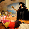 "Gloucester: Gina Milne as the Wicked Witch of the West enters Munchkin Land in the  Annisquam Village Players production of ""THe Wizard of Oz. Jim Vaiknoras/staff photo"