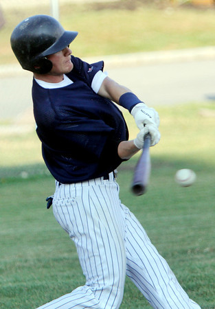 ALLEGRA BOVERMAN/Staff photo. Gloucester Daily Times. Essex: Manchester's Alex Ray bats during an ITL game held against Rowley in Essex on Tuesday evening.