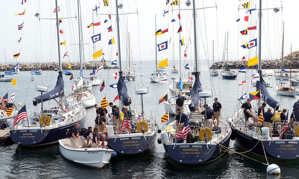 Marjorie Nesin/Staff photographer. Gloucester Daily Times. Five Rockport: Naval Academy ships arrived in Rockport early Friday morning for a weekend stay.Flag pennants decorate the stays of the boats, each flag with its own symbolism.