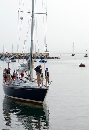 Marjorie Nesin/Staff photographer. Gloucester Daily Times. Five Rockport: Naval Academy ships arrived in Rockport early Friday morning for a weekend stay.