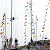 Marjorie Nesin/Staff photographer. Gloucester Daily Times. Five Rockport: Naval Academy ships arrived in Rockport early Friday morning for a weekend stay.  Flag pennants decorate the stays of the boats, each flag with its own symbolism.